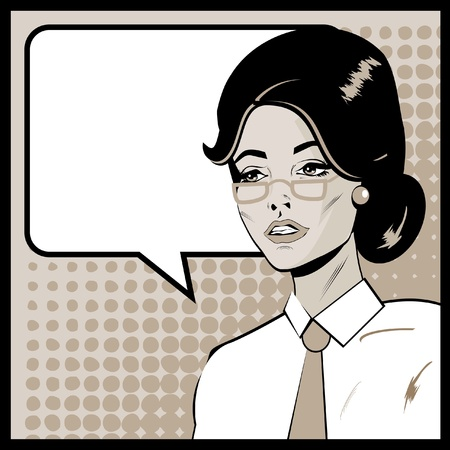 Pop Art Business Woman with Speech Bubble. Retro business smiley girl  Stock Photo