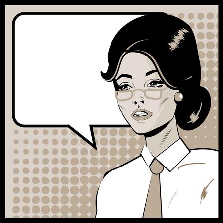 job advertisement: Pop Art Business Woman with Speech Bubble. Retro business smiley girl  Stock Photo