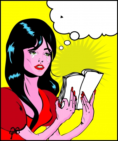 Woman cry and reading pop art comic collection Sad young woman reading book  Stock Photo