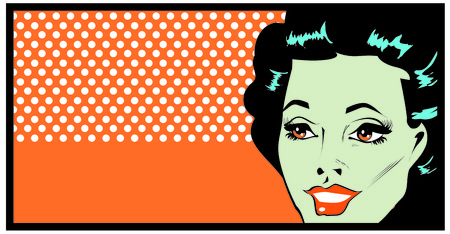 occhi sbarrati: Ritagliate donna faccia arte banner pop fumetto con gli occhi spalancati