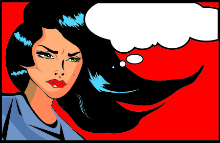 vengeful: Retro looking angry woman Vintage clipart collection