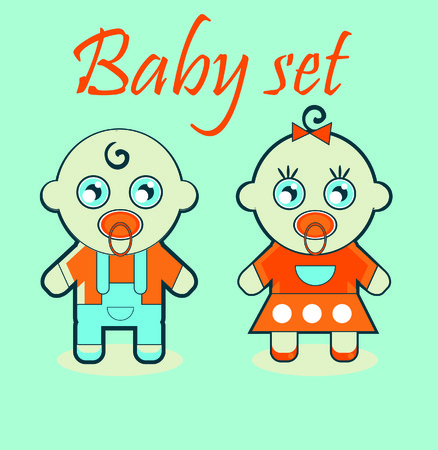 Baby girl and boy icons photo