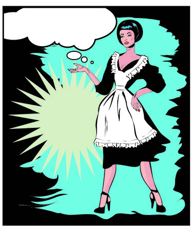 Helpful Housewife - Retro Clip Art in popart vintage style photo