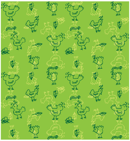 Cute birds seamless background vector Doodled birds seamless pattern, birds pattern, birds background  photo
