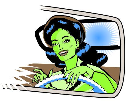 motorist: Female Motorist - Retro Clip Art collection comics style Stock Photo