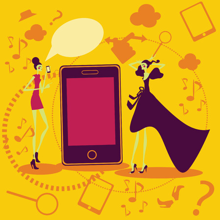 social communication: Mobil fashion and shopping girls Talking Social communication