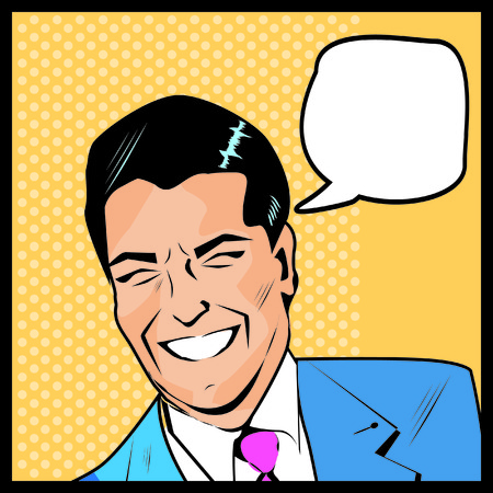trendy male: Pop Art Man - dot and color layers happy businessman talking