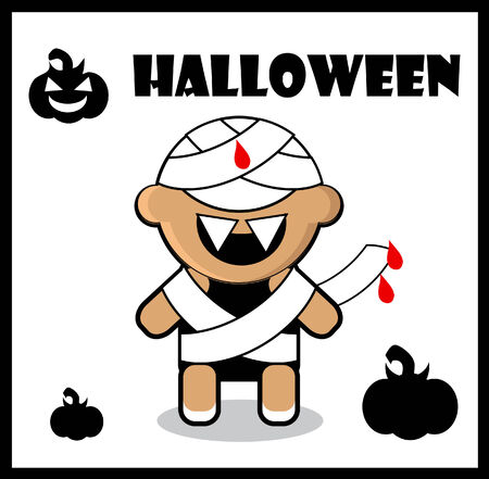Halloween icon Zombie Mummy card poster background  Cute Halloween character - Mummy  photo