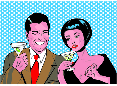 gals: Couple With Cocktails Toasting - Retro Clip Art  Stock Photo