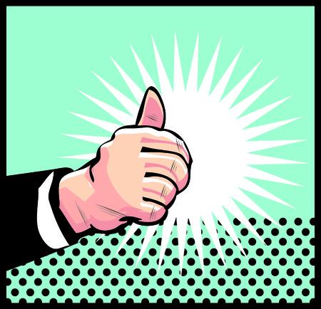 Thumb Up Retro business icon illustration pop art style Stock Illustration - 26498315