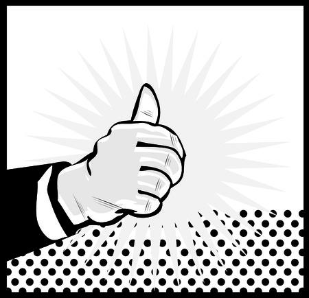 Thumb Up Retro business icon illustration pop art style Stock Illustration - 26498316
