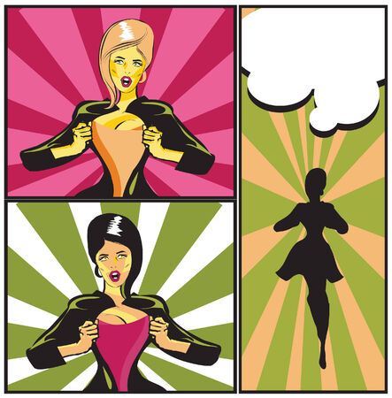 Comic Woman Superhero Under Cover: Superhero under cover, comic book style Add your logo on the shirt  photo