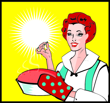 homemakers: Fresh Baked Pie - Housewife With Dessert  retro Art
