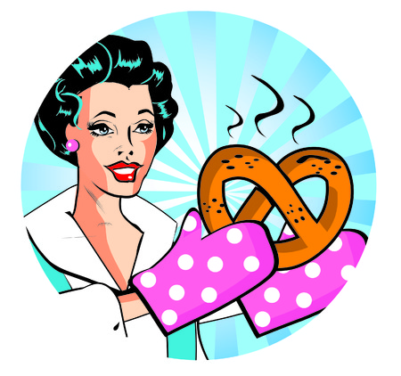 hot wife: retro woman with hot batch  Retro Lady Cooking  Retro Clip Art