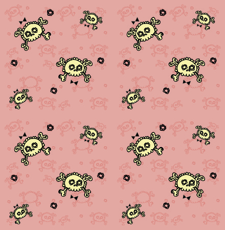 skulls seamless pattern. Lots of sculls with comic texture, graphic stylized  silhouettes, vector background photo