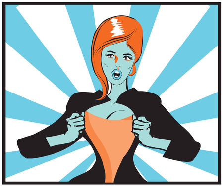 Pop Art Comic book sexy woman Under Cover, comic book style. Add your logo on the shirt. Colors are very easy to change. No transparency and gradients used. photo