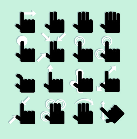 Touch Pad Gestures hands icons set photo