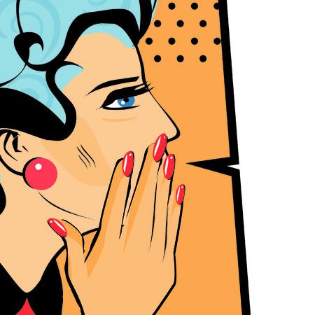 Comics hand gesture of woman telling secrets, spread the word illustration