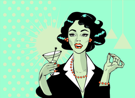 Woman drinking martini or cocktail retro vintage clipart photo
