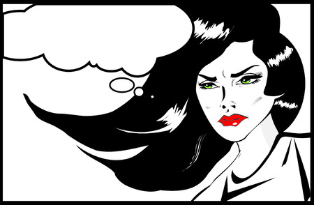 Vintage Headshot of a young and angry woman on background. Angry woman. Pop art comic style photo
