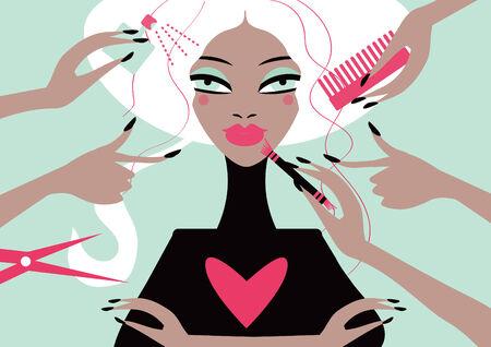 Woman in a beauty salon. Conceptual illustration magazine cover illustration