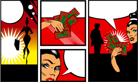 Pop art Comic Book Style Banners with woman man and money Talking comic style speech bubbles. Vector illustration illustration