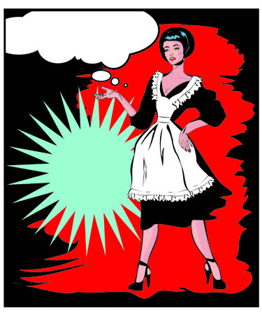 homemakers: Helpful Housewife - Retro Clip Art in popart vintage style