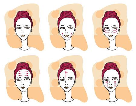 Face massage  scheme Fashion illustration with woman faces set and arrow