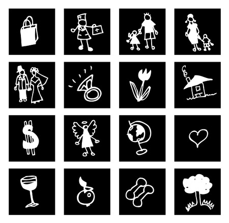 abstract icons set : family, business, medical, nature photo