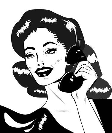 Lady Chatting On The Phone - Retro Clip Art  photo