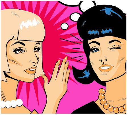 blabbing: Gossiping Women - Retro Clip Art