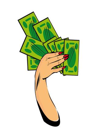 cash money: Vector comic mano femenina con dinero en efectivo a mano con el dinero aislados en fondo blanco Foto de archivo