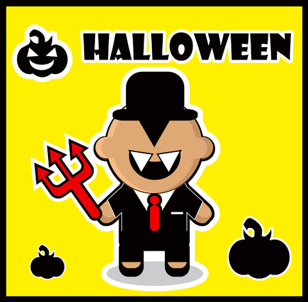 Halloween icon Devil businessman dracula card poster background photo