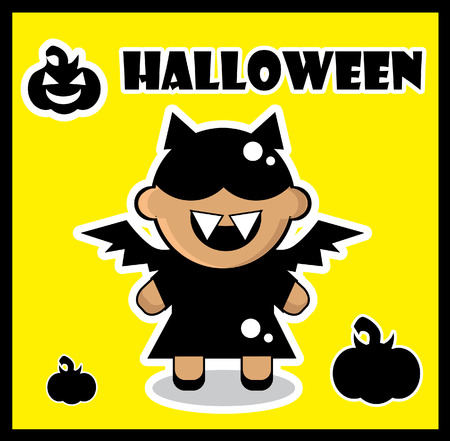 Halloween icon Bat card poster background silhouette of bat girl and pumpkin photo