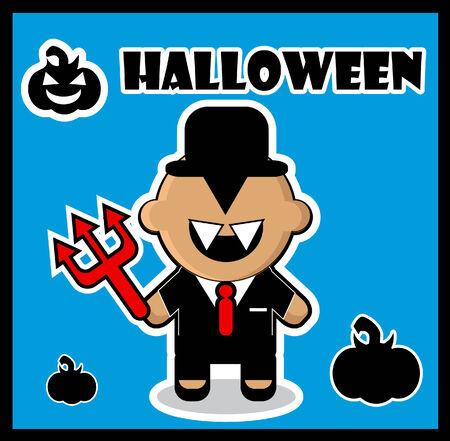 devi: Halloween icon Devil businessman dracula card poster background