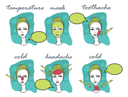 Cold and Flu Season illustration of Woman with headache, toothache, cold, temperature, mask icons illustration