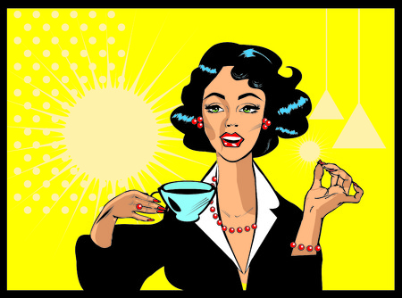 Coffee Lover vector poster with woman and cup of coffee in hand, Coffee time icon.One of fashion pinup illustrations  illustration
