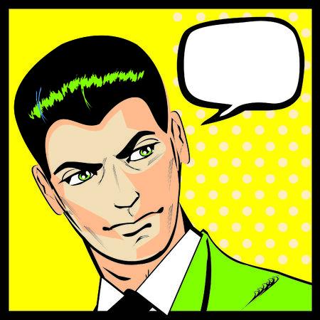 Businessman talking or thinking retro poster or icon