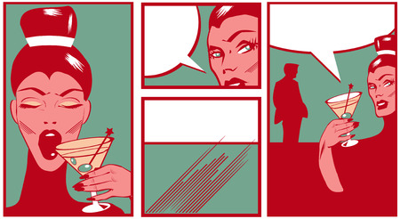 Pop art Comic Book Style Banners with beautiful woman in bar with man silhouette drinking cocktail photo