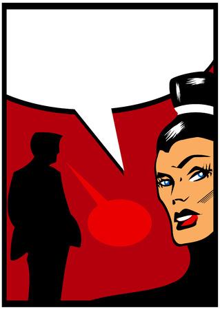 couple fach�: Pop Art Comic quelques Femme f�ch� parlant avec l'homme silhouette