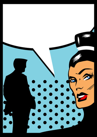 Pop Art Comic couple Angry Woman Talking with man silhouette photo