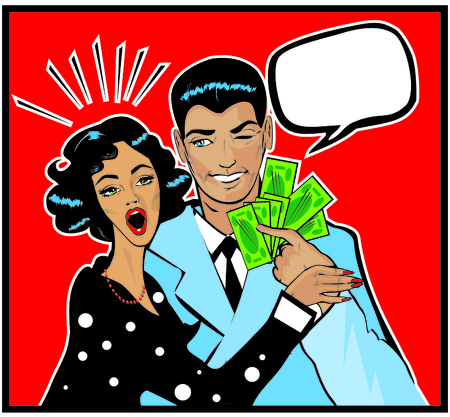 rich couple: Woman wow Her Husband On The Cheek As He Hands Her Money
