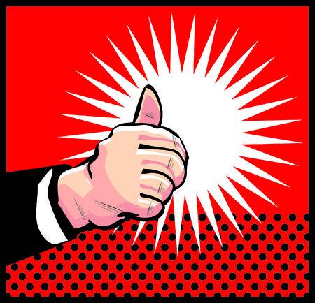 Thumb Up Retro business icon illustration pop art style Stock Illustration - 26498888