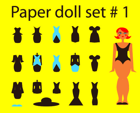 Paper doll set girl and dresses and hat 1 photo