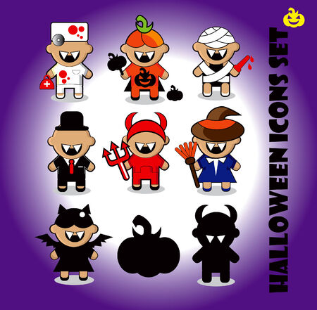 Halloween icons set doctor, dracula,  bat, witch, pumpkin, evil, Mummy  photo
