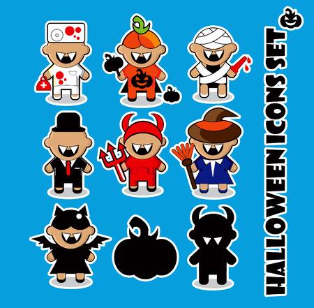 Halloween icons set doctor, dracula,  bat, witch, pumpkin, evil, Mummy  photo