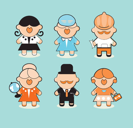 career coach: Professions icons set Group of cartoon business people faces. Professionals.