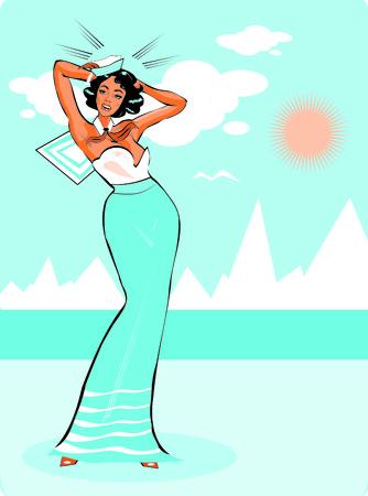 Vector Clip Art Illustration of a Sexy Female Sailor Pinup retro poster
