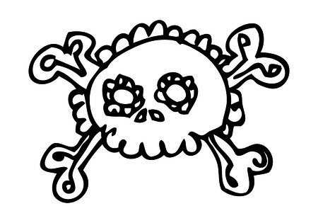 Skull doodle vector cute in tattoo style