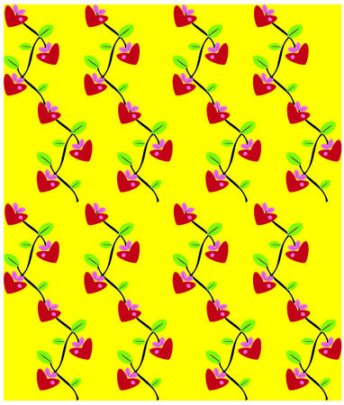 Flowers love heart background seamless pattern